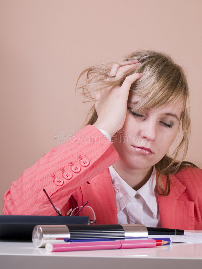 Tired woman royalty free stock images