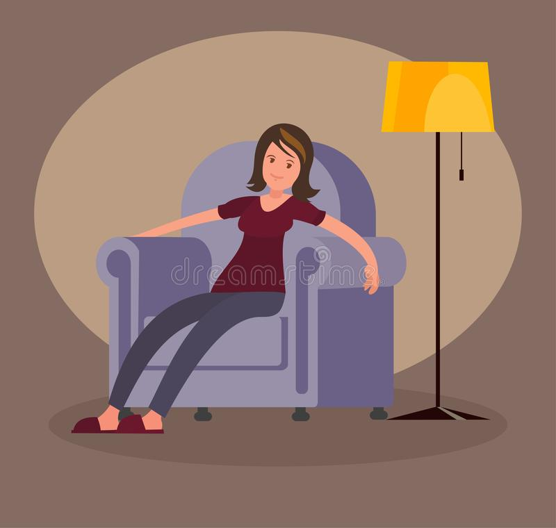 Tired woman came home from work and sits in a soft chair. Vector illustration in a flat style vector illustration