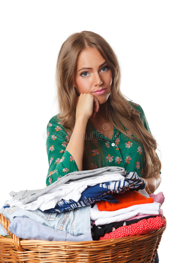 Tired woman doing the chores royalty free stock photo