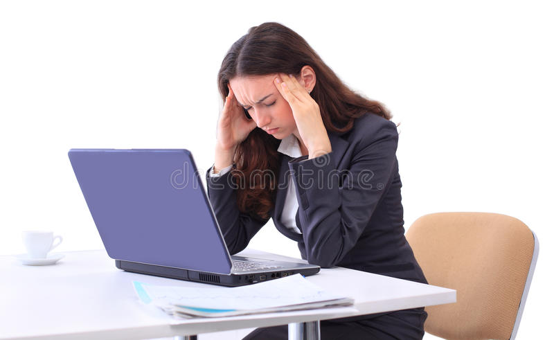 Tired Woman In Front Stock Images