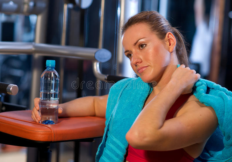 Download Tired woman in gym stock photo. Image of person, recreation - 17269230