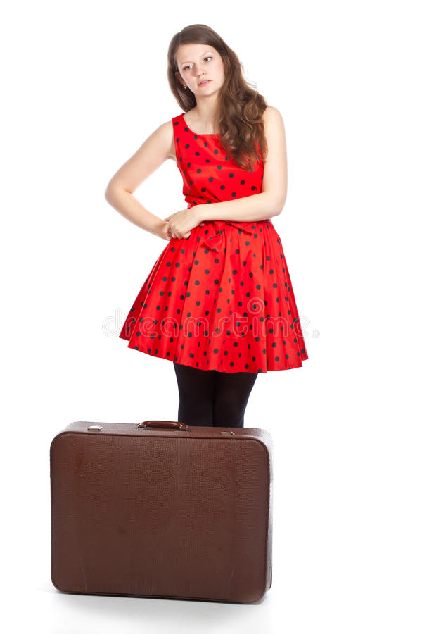 Download Tired woman with luggage stock image. Image of indoors - 25719089