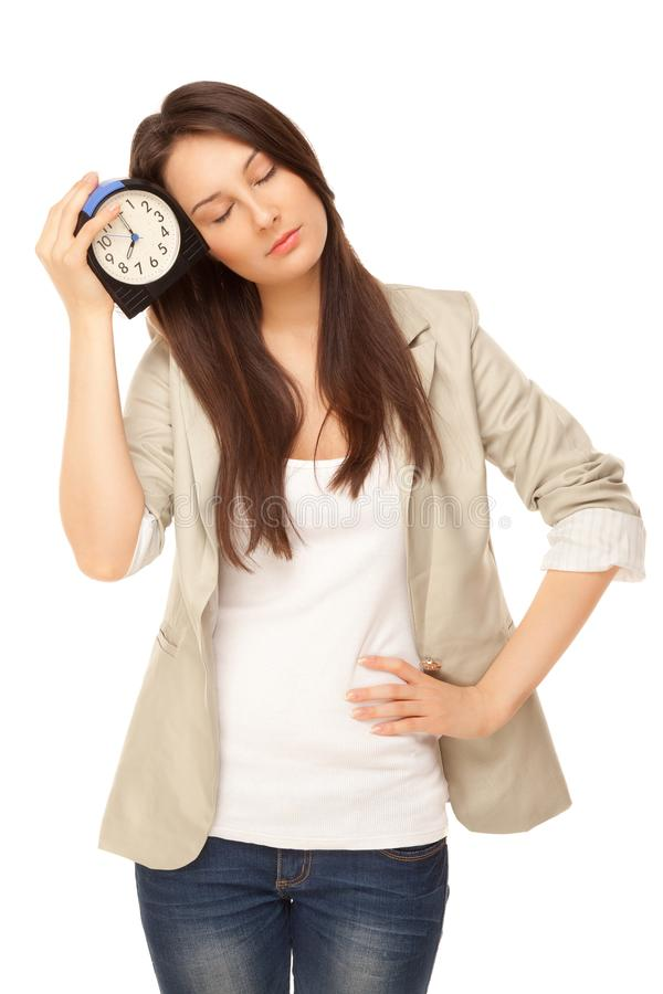 Free Tired Woman Standing With Alarm-clock. Concepts Of Insomnia Royalty Free Stock Photo - 102386555