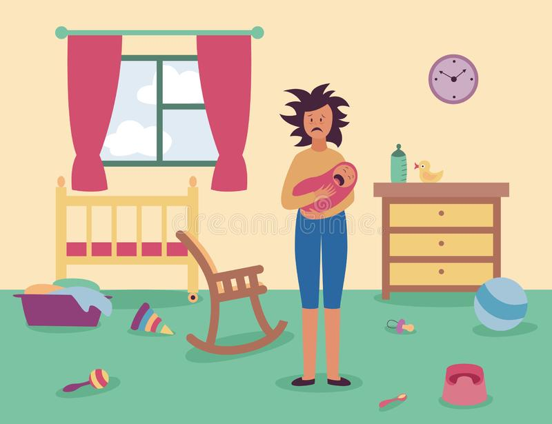 Tired woman stands in messy room holding crying baby flat cartoon style. Vector illustration on interior background. Mother in postnatal depression indoor with vector illustration
