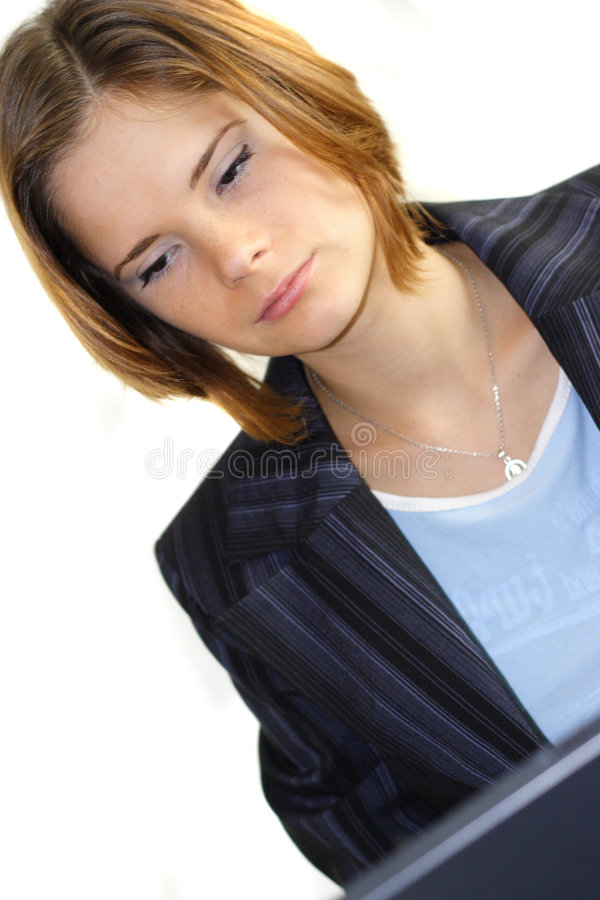 Download Tired woman at work stock photo. Image of bore, female - 1389304