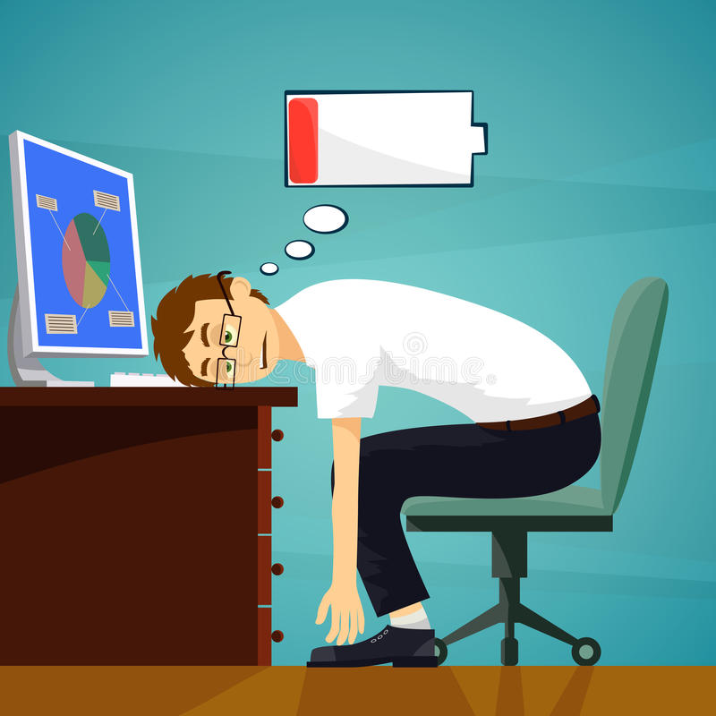 Tired worker in the workplace. Low battery charge. Stock vector illustration
