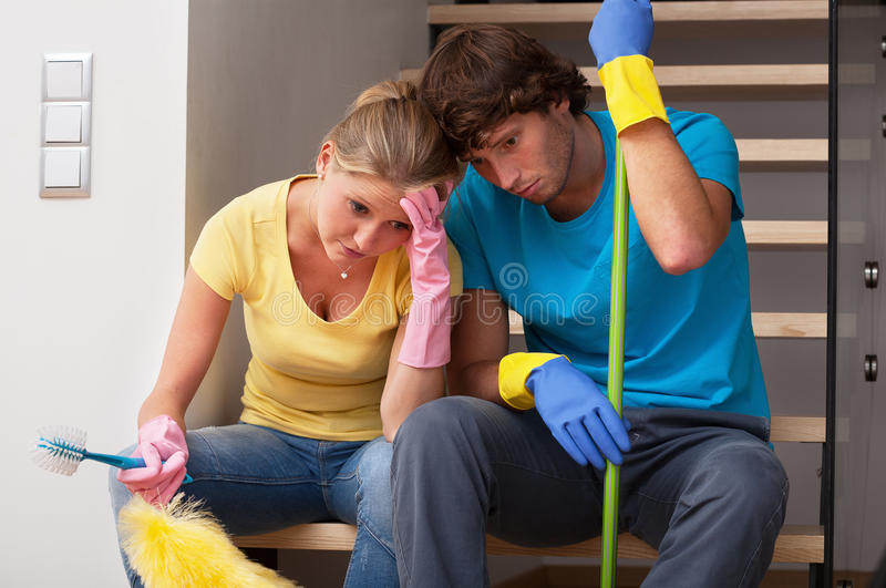 Tiredness after household duties royalty free stock photos