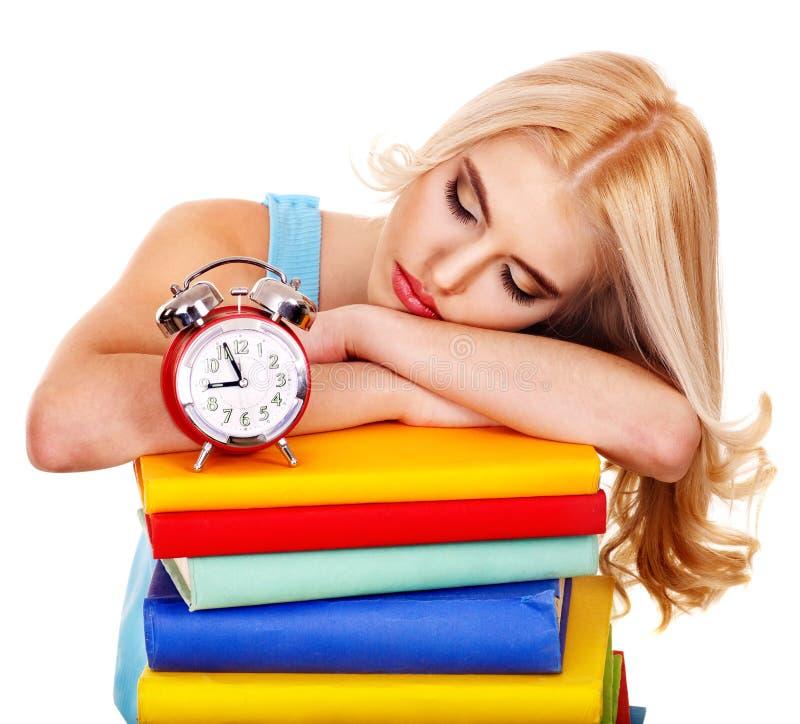 Tiredness student sleeping on book. royalty free stock photos