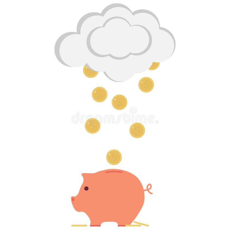 Tirelire avec de l'argent Argent tombant dans la tirelire avec des nuages illustration stock