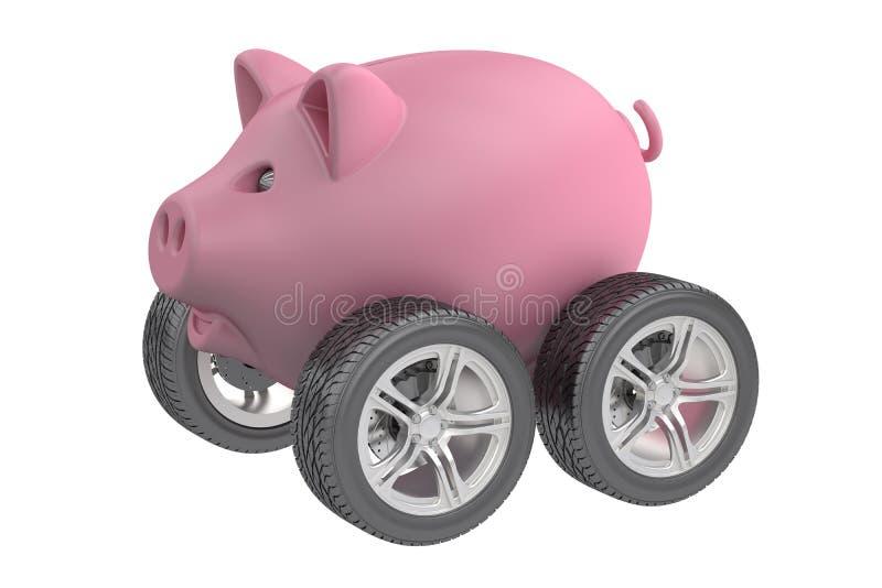 Tirelire avec des roues illustration stock