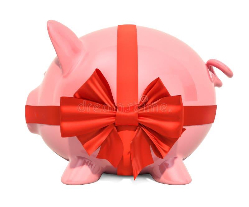 Tirelire avec l'arc et le ruban rouges, concept de cadeau rendu 3d illustration libre de droits
