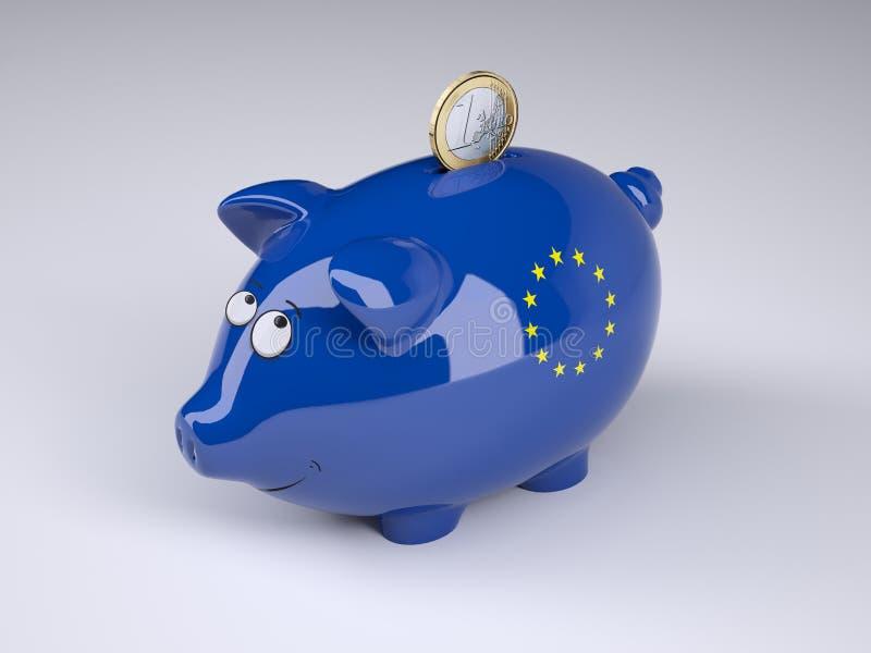 Tirelire avec l'euro drapeau et une euro pièce de monnaie illustration libre de droits