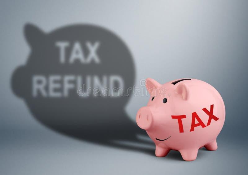 Tirelire avec l'ombre, concept de remboursement d'impôt fiscal photos libres de droits