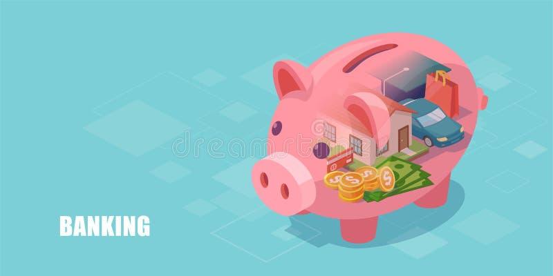 Tirelire avec la maison, la voiture, le prêt d'éducation et l'épargne rêveurs d'argent liquide à l'intérieur illustration de vecteur