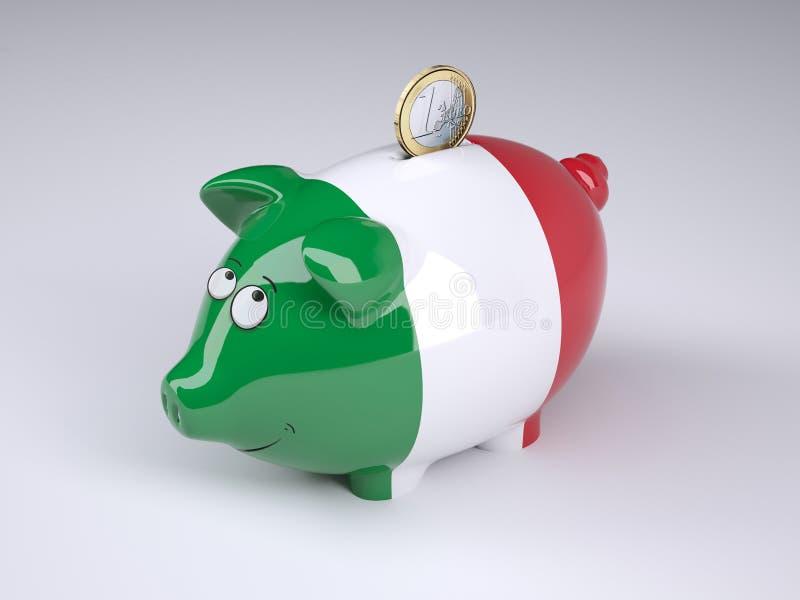 Tirelire avec le drapeau italien et une euro pièce de monnaie illustration libre de droits