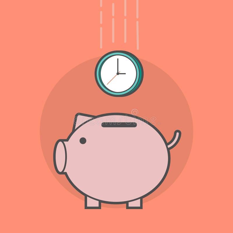 Tirelire avec une horloge illustration de vecteur