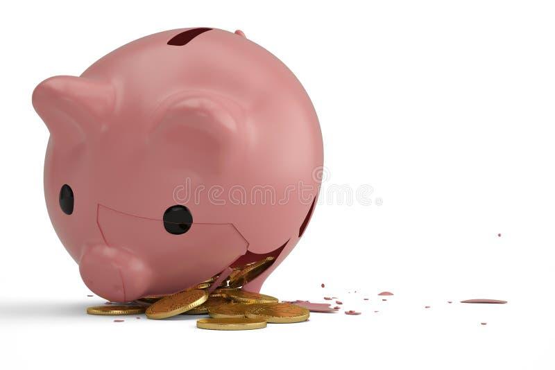 Tirelire cassée avec des pièces de monnaie du dollar illustration 3D illustration libre de droits