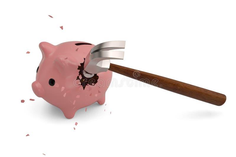 Tirelire cassée avec le marteau illustration 3D illustration de vecteur