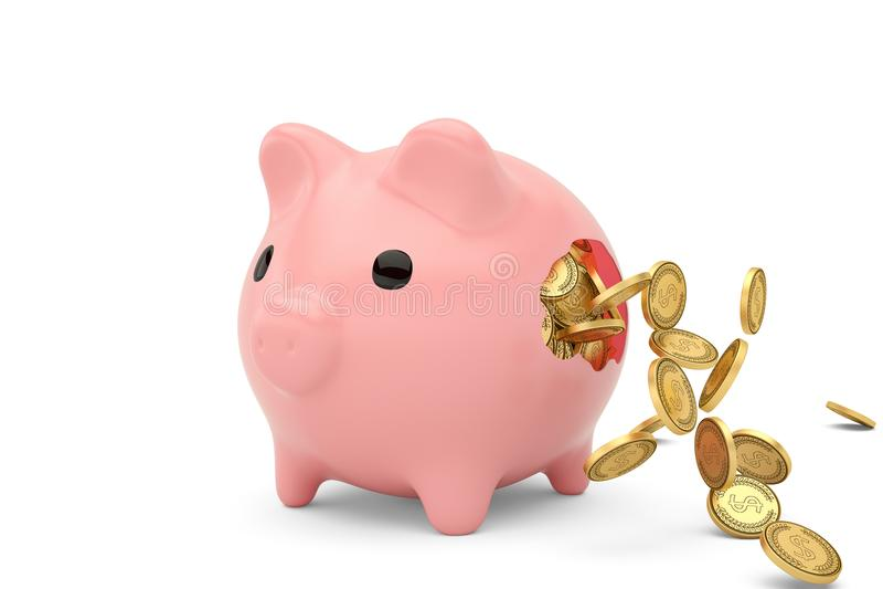 Tirelire cassée et pièces de monnaie d'or volant autour illustration 3D illustration de vecteur