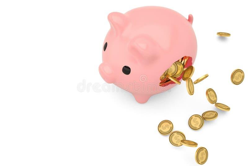 Tirelire cassée et pièces de monnaie d'or volant autour illustration 3D illustration stock