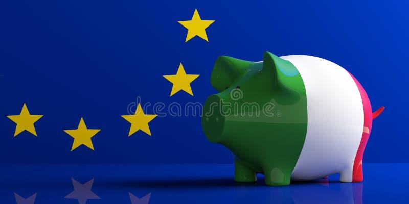 Tirelire de drapeau de l'Italie sur le drapeau d'UE illustration 3D illustration 3D illustration libre de droits