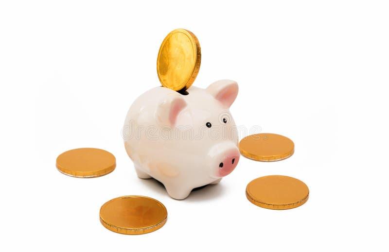 Tirelire de porc avec des pièces de monnaie photo stock