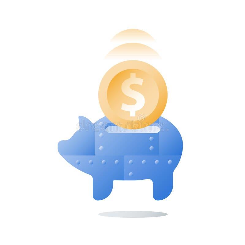Tirelire en métal, stratégie de placement à long terme, mobilisation de fonds, augmentation de valeur, l'épargne de pension, plus illustration libre de droits