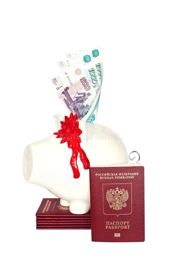 Tirelire et passeports de la Fédération de Russie photographie stock libre de droits