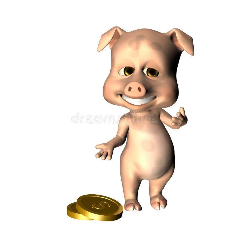 Tirelire faisant des gestes aux pièces de monnaie illustration stock