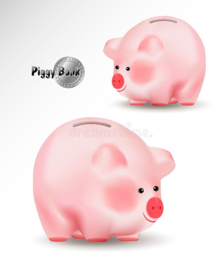 Tirelire ou tirelire Illustration réaliste de vecteur d'isolement sur le fond blanc Symbole chinois oriental de porc mignon de 20 illustration de vecteur