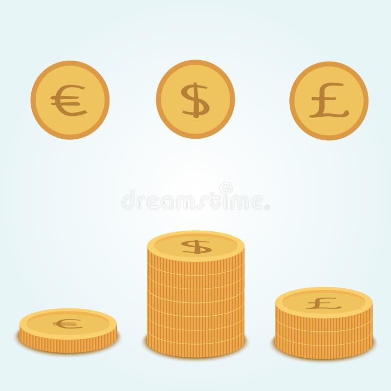 Tirelire rose à laquelle euro et livre d'or du dollar de pièces de monnaie de mouche Près des piles de mensonge de pièces de monn illustration de vecteur