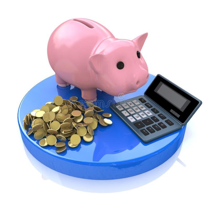 Tirelire rose avec des pièces d'or de calculatrice et illustration stock