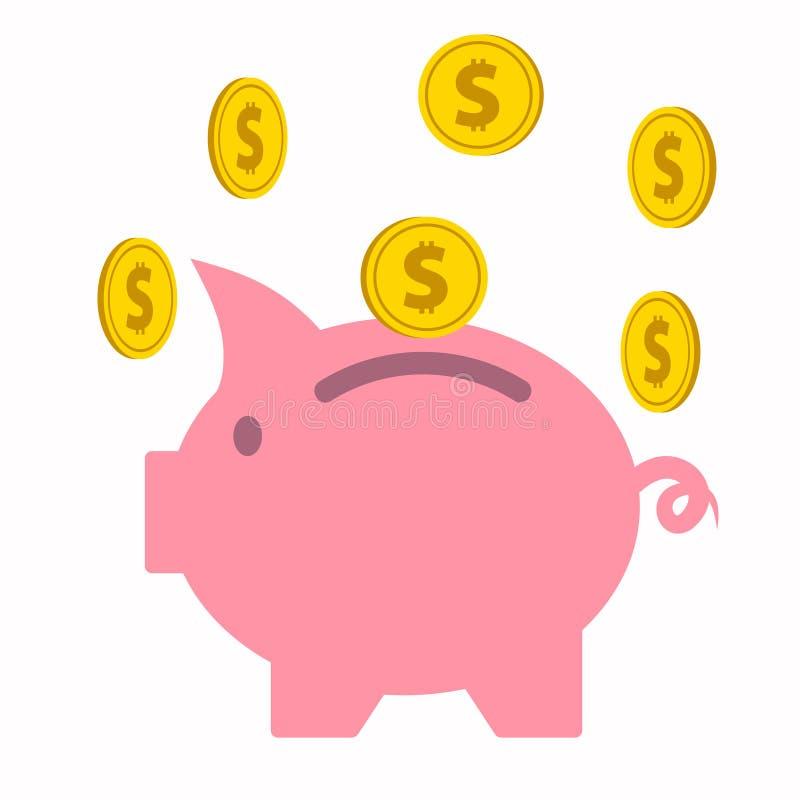 Tirelire rose avec les pièces de monnaie d'or en baisse illustration libre de droits