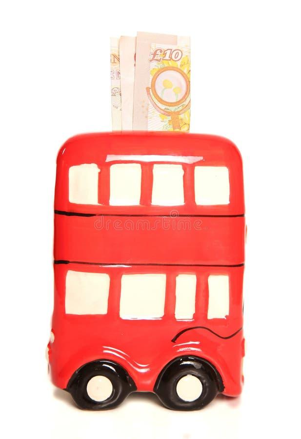 Tirelire rouge d'autobus de Londres photo libre de droits