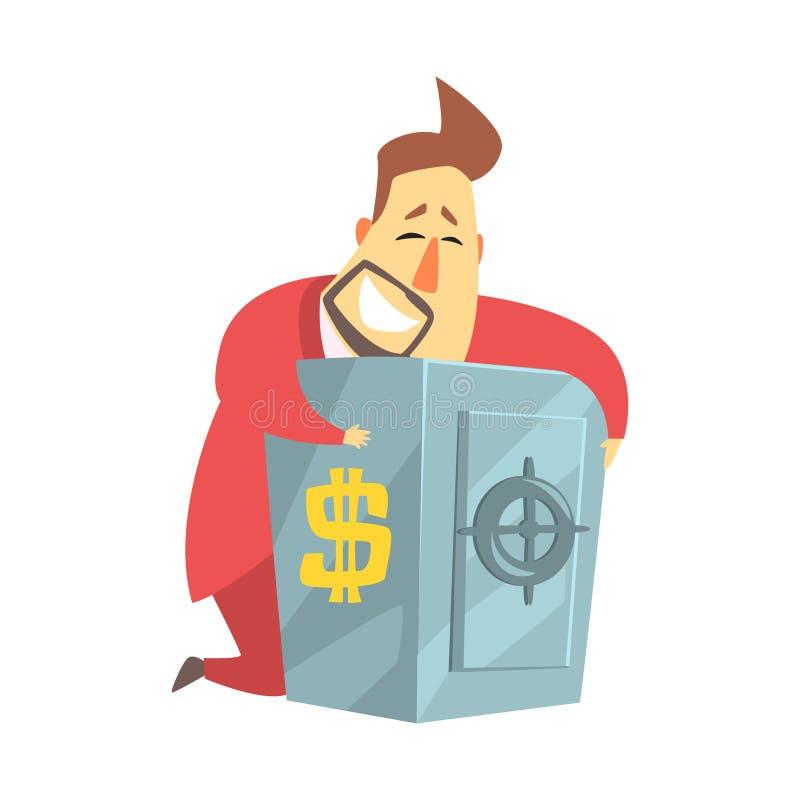 Tirelire sûre de Rich Man Hugging His Metal de millionnaire, situation drôle de mode de vie de personnage de dessin animé illustration stock
