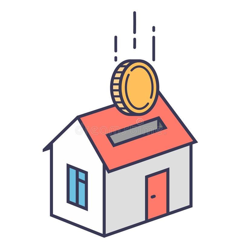 Tirelire sous forme de maison dans laquelle la pi?ce de monnaie tombe Pr?t immobilier illustration stock