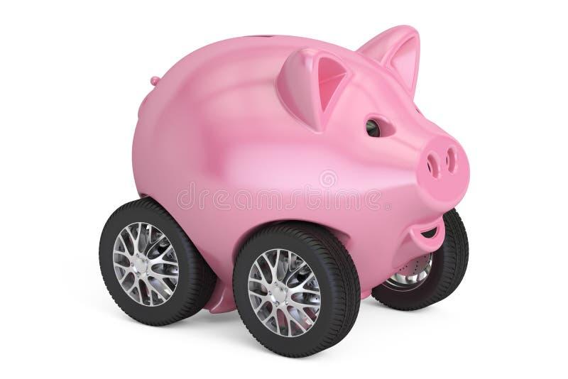 Tirelire sur des roues de voiture, rendu 3D illustration de vecteur