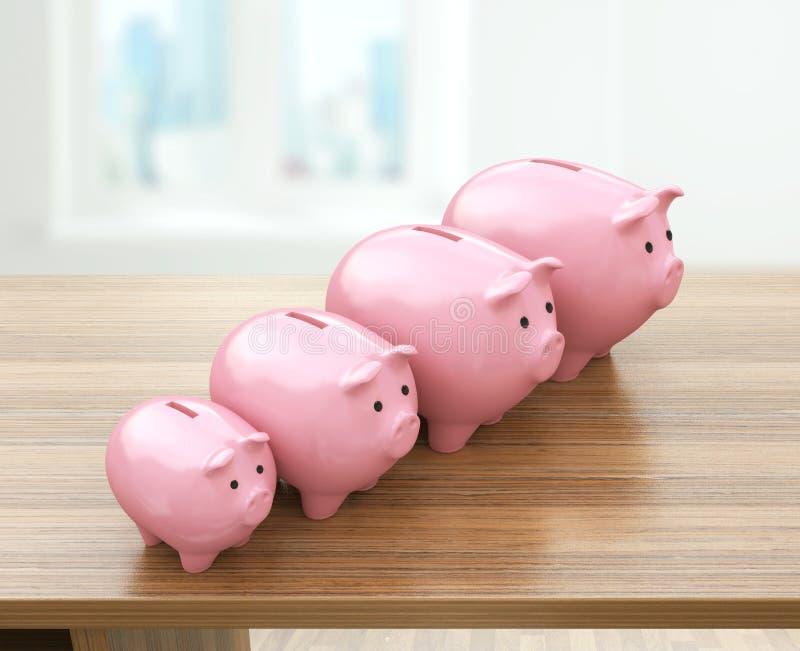 Tirelires roses augmentant dans la taille Concept croissant d'investissement illustration libre de droits