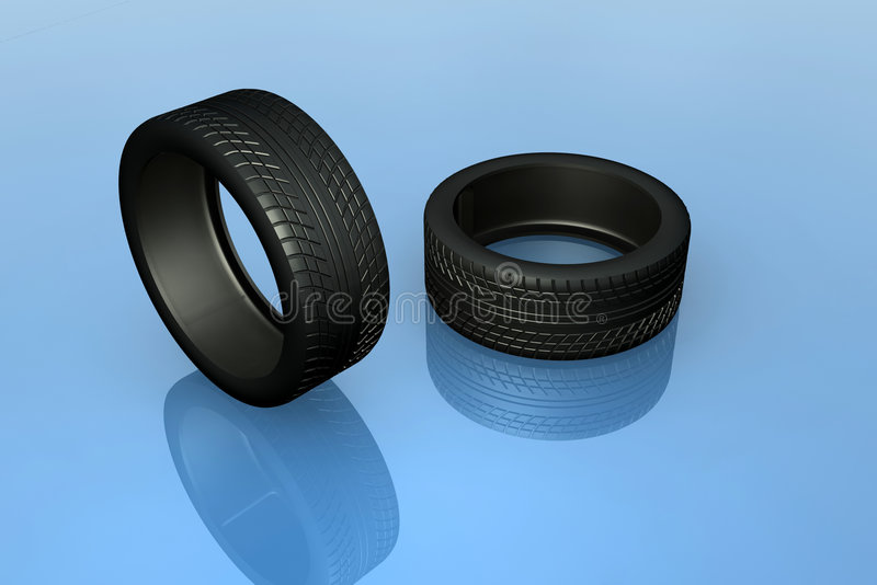 Tires. A couple of high res realistic vehicle tires rendered in 3dsmax royalty free illustration