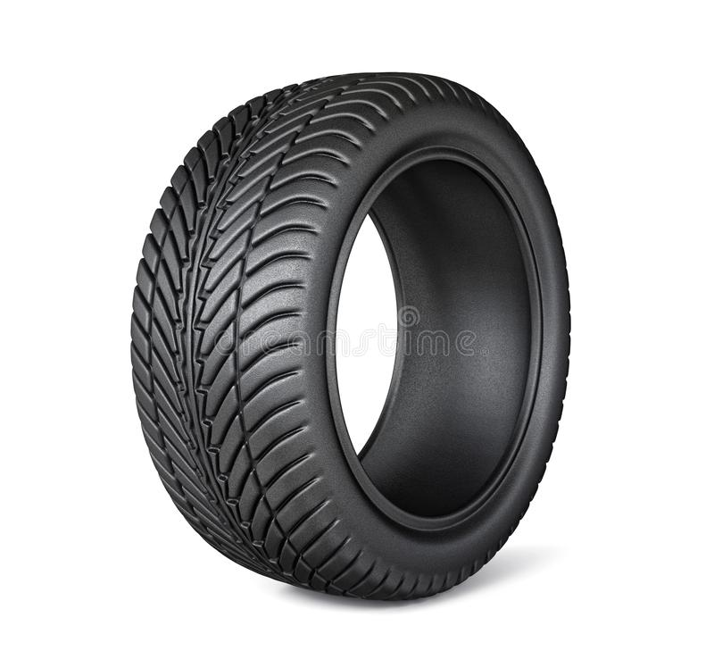 Tires. Black tires isolated on a white. 3d illustration royalty free illustration
