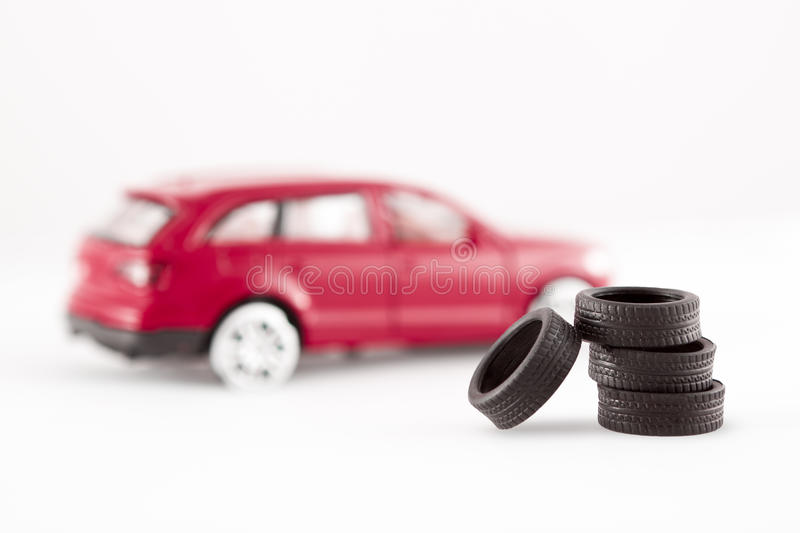 Tires in front of toy car