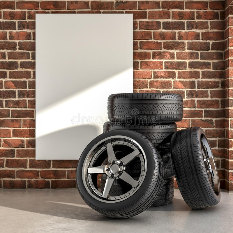 Tires on the garage. Several tires inside a garage 3d illustration royalty free illustration