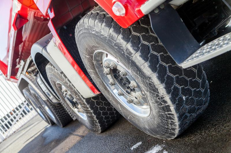 Tires on a heavy off-road truck stock images
