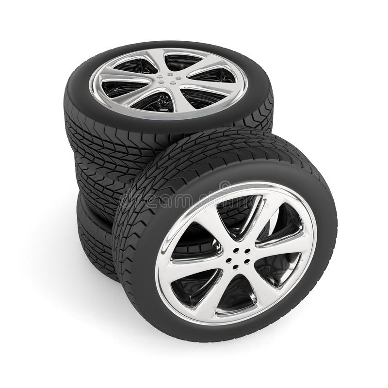 Tires isolated on white. Background. Stack of car wheels royalty free illustration