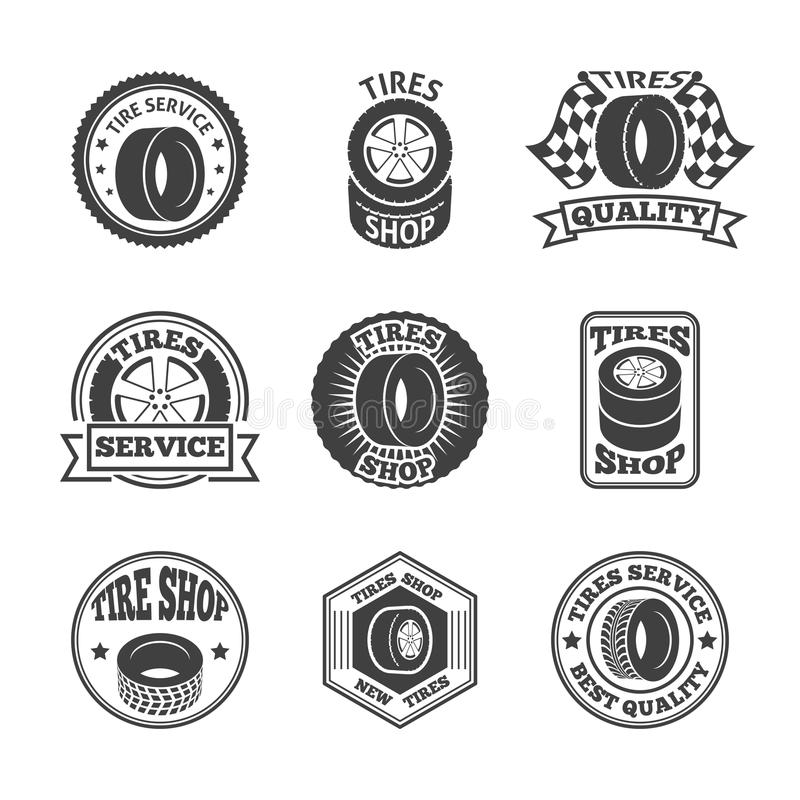 Tires label icon set. Different brands tires tread pattern shops emblems and replacing service labels set black abstract vector illustration vector illustration