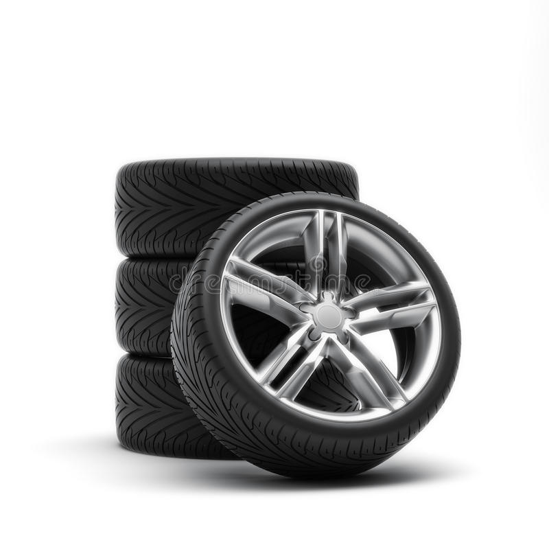 Tires and rims. Automobile wheels on a white background royalty free illustration