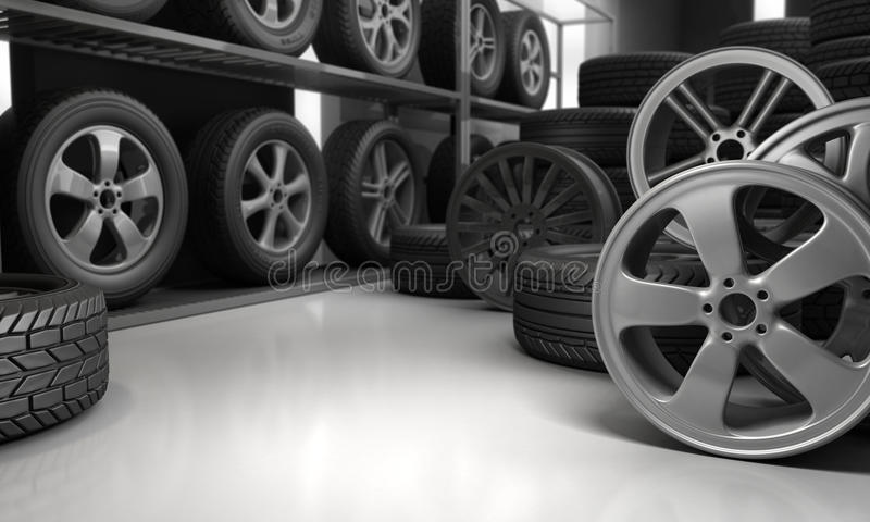 Tires and rims for car. 3D Rendering royalty free illustration