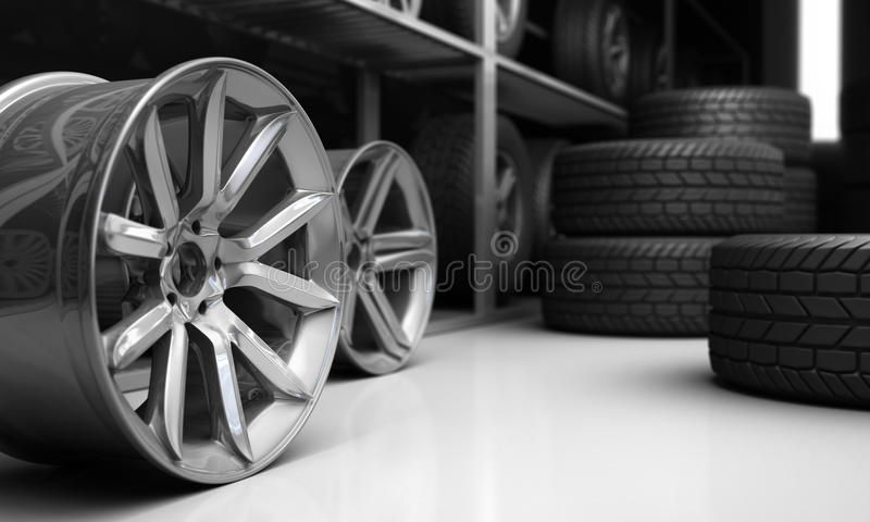 Tires and rims for car. 3D Rendering vector illustration