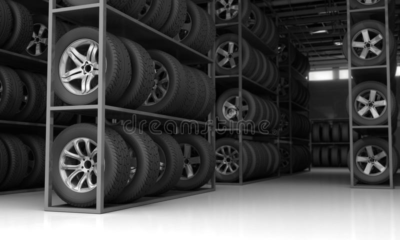 Tires and rims for car. 3D Rendering stock illustration