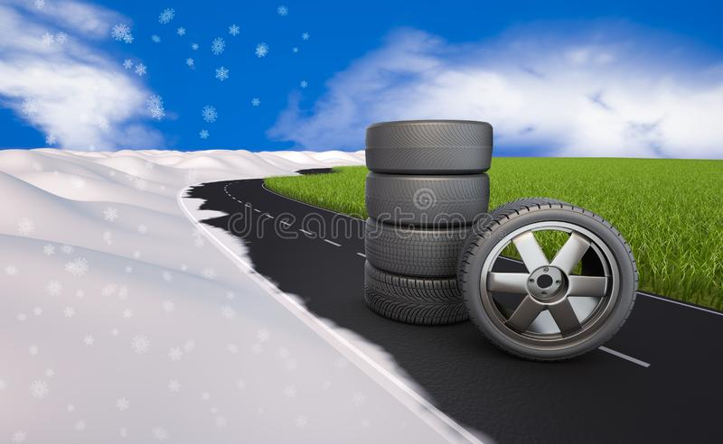 Tires on the road next grass and snow royalty free illustration